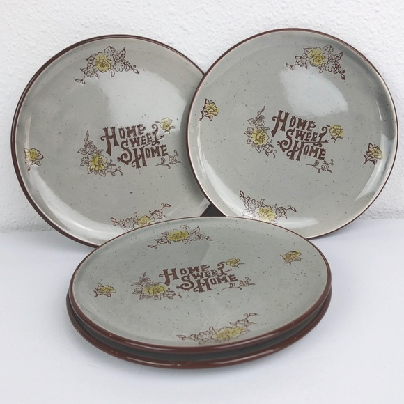 VINTAGE Set of 4 Home Sweet Home Lunch Plates Japa